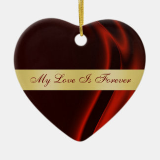 """Couple""""s Red Silk Valentines Day Heart Ornament"""