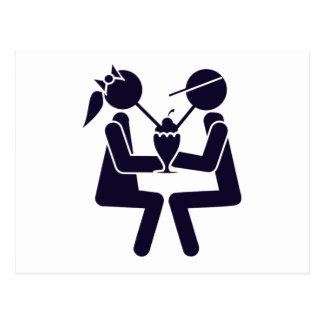 Couple Sharing a Shake Postcard