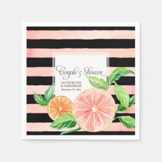 Couple Shower Black Pink Grapefruit Orange Citrus Paper Napkin