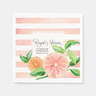Couple Shower Modern Pink Grapefruit Orange Citrus Paper Serviettes