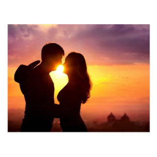 Couple Silhouette At Sunset Postcard