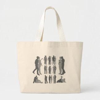 Couple silhouettes pregnant woman canvas bag