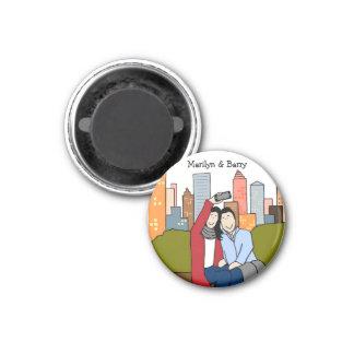 Couple taking selfie- personalized cartoon magnet