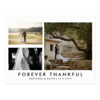 Couple Three Photo Forever Thankful Minimalist Postcard
