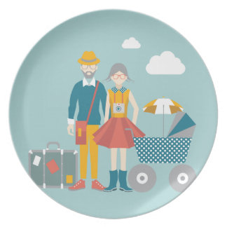 Couple traveling with baby carriage party plate