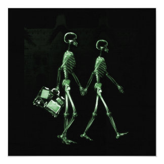 Couple Traveling X-Ray Vision Skeletons - Green 13 Cm X 13 Cm Square Invitation Card