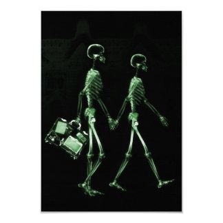 Couple Traveling X-Ray Vision Skeletons - Green 9 Cm X 13 Cm Invitation Card