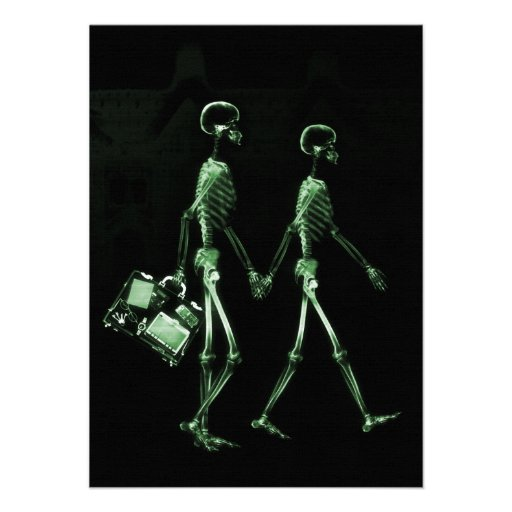 Couple Traveling X-Ray Vision Skeletons - Green Personalized Invite