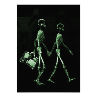 Couple Traveling X-Ray Vision Skeletons - Green Announcement