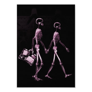 """Couple Traveling X-Ray Vision Skeletons - Pink 3.5"""" X 5"""" Invitation Card"""