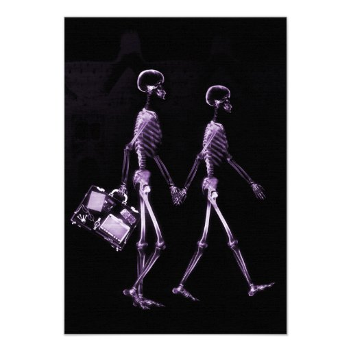 Couple Traveling X-Ray Vision Skeletons - Purple Personalized Announcement