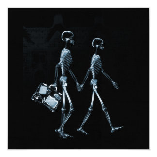 Couple Travelling X-Ray Vision Skeletons - Blue 13 Cm X 13 Cm Square Invitation Card