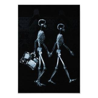 Couple Travelling X-Ray Vision Skeletons - Blue 9 Cm X 13 Cm Invitation Card