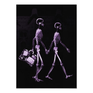 Couple Travelling X-Ray Vision Skeletons - Purple 11 Cm X 16 Cm Invitation Card