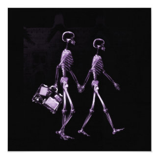 Couple Travelling X-Ray Vision Skeletons - Purple 13 Cm X 13 Cm Square Invitation Card