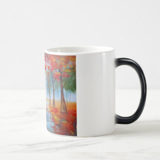 Couple walking in a forest autumn rainy day mug
