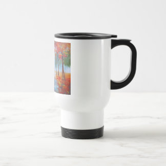 Couple walking in a forest autumn rainy day coffee mug