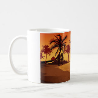 Couple walking on the beach coffee mug