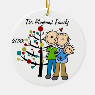 Couple With Baby Boy Custom Holiday Ornament