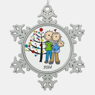 Couple With Baby Boy Dated Snowflake Ornament