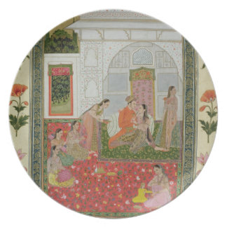 Couple with female attendants and musicians plate