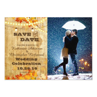 Couple with umbrella kissing at snow/fall theme card