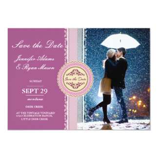 Couple with umbrella kissing at snow/purple card