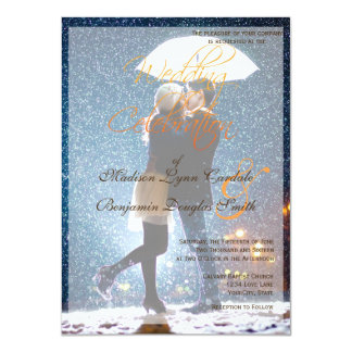 Couple with umbrella kissing at snow/Wedding Card