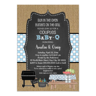 Couples BOY Baby Q, burgers on the grill Card
