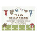 "Couples Co-Ed Football Baby Shower Invitations 5"" X 7"" Invitation Card"
