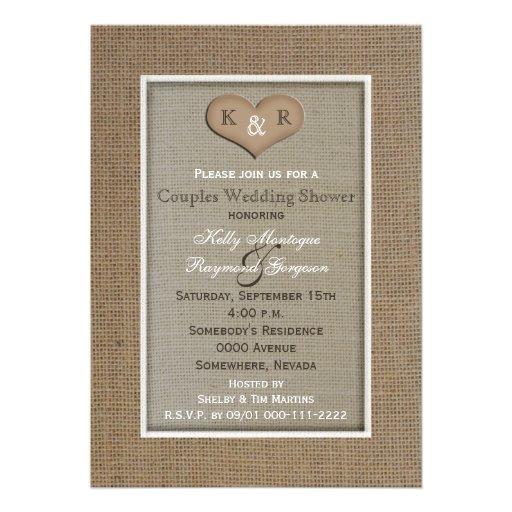 Couples Coed Wedding Shower Invitation -- Burlap Custom Announcements