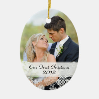 Couple's First Christmas Ornament with Photo