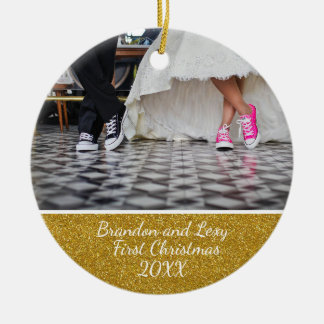 Couples First Christmas Photo Ornament