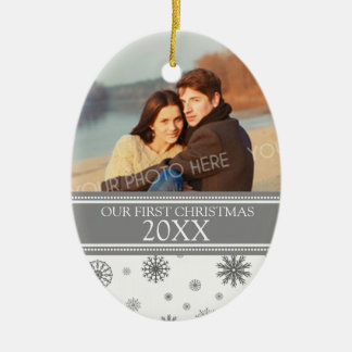 Couple's First Christmas Photo Ornament Gray