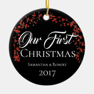 Couples First Christmas with Name, Date & Photo - Ceramic Ornament