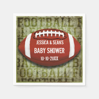 Couples Football Baby Shower Green Grunge Paper Napkin
