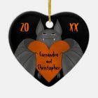 Couples Halloween bat Ceramic Ornament