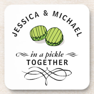 Couples' In a Pickle Together Personalized Coasters
