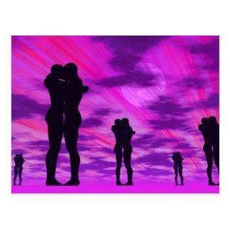 Couples in love - 3D render Postcard