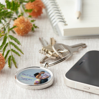 Couples in Love. | Key Chain. Silver-Colored Round Key Ring