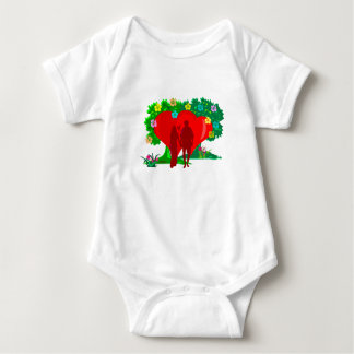 couples in red heart and flowers baby bodysuit