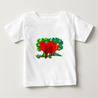 couples in red heart and flowers baby T-Shirt
