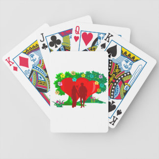 couples in red heart and flowers bicycle playing cards