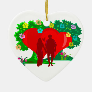 couples in red heart and flowers ceramic heart decoration