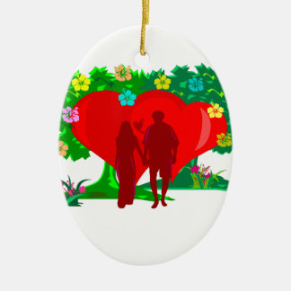 couples in red heart and flowers ceramic oval decoration