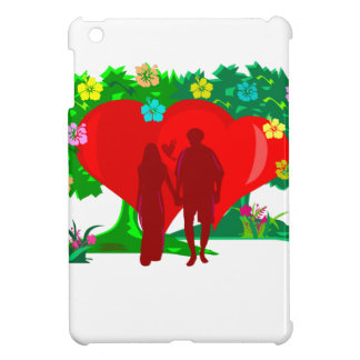 couples in red heart and flowers iPad mini covers