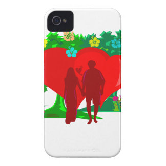 couples in red heart and flowers iPhone 4 Case-Mate cases