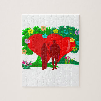 couples in red heart and flowers jigsaw puzzle