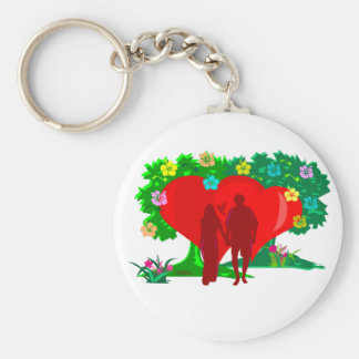 couples in red heart and flowers key ring