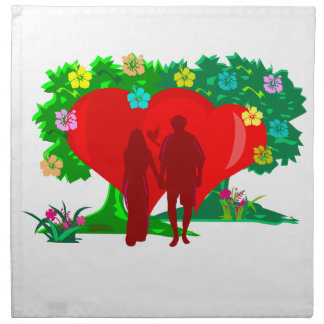 couples in red heart and flowers napkin